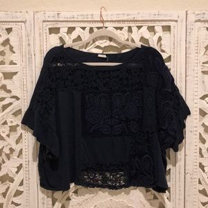 Navy Crochet Anthropologie Top